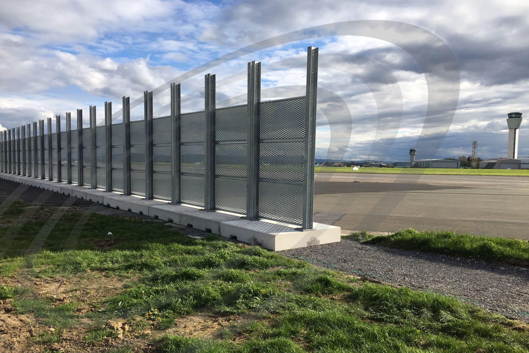 iac acoustics airport acoustic barrier rear view