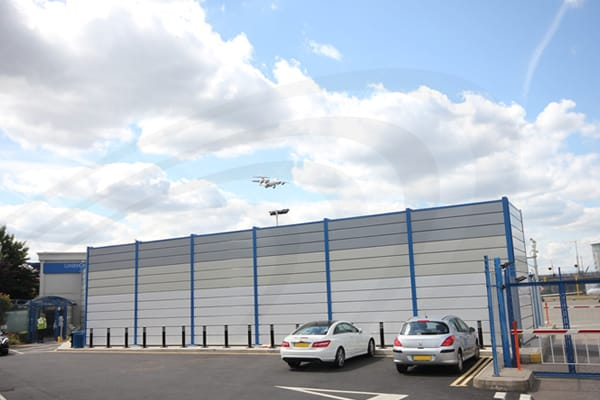 IAC Acoustics airport angled mesh barrier palletised amb-p