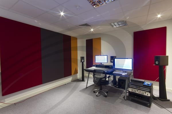 IAC Acoustics absorbatone fabric acoustic panels in music studio