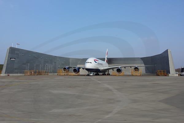 IAC Acoustics airport gre british airways airplane full view