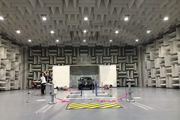 IAC Acoustics hemi-anechoic pass by chamber test facility