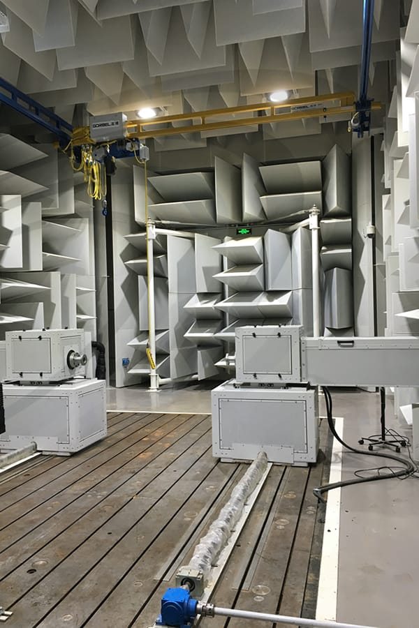 IAC Acoustics power train, drive line chamber testing facility wedge